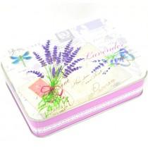 Plechová dóza plochá obdélníková Lavender