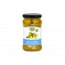 Řecké zelené olivy plněné česnekem 290 g